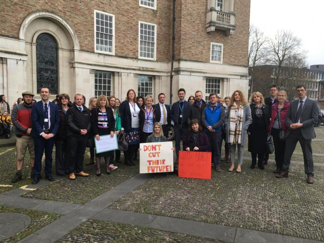 CHANGE IS NEEDED: Headteachers gather outside County Hall in Taunton