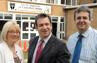 Mark Formosa (centre) with St Augustine's head teacher Simon Rowe and executive head Maggie Mooney.