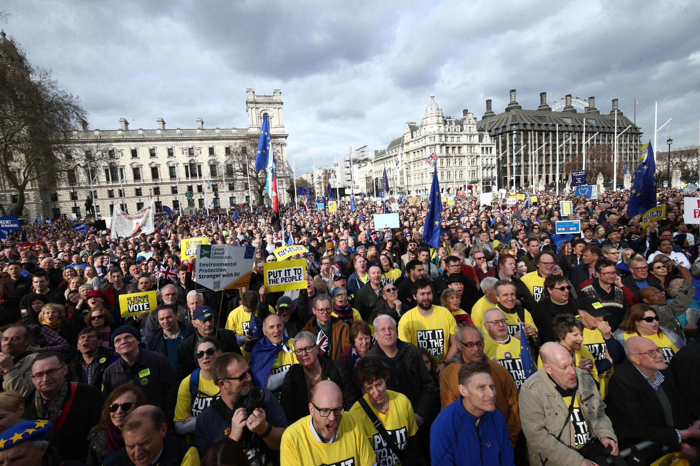 DEMONSTRATION: Anti-Brexit campaigners gather in Parliament Square, as they take part in the People's Vote March in London. PICTURE: Yui Mok/PA Wire