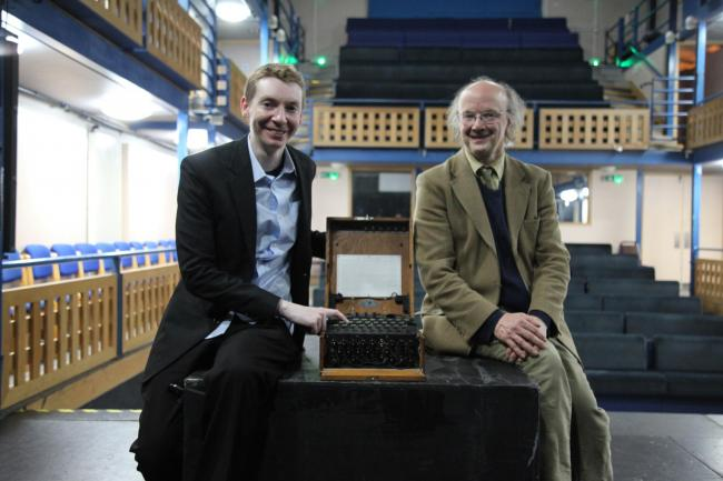 INTEREST: Dr James Grime with Enigma Machine and Dr James Penny