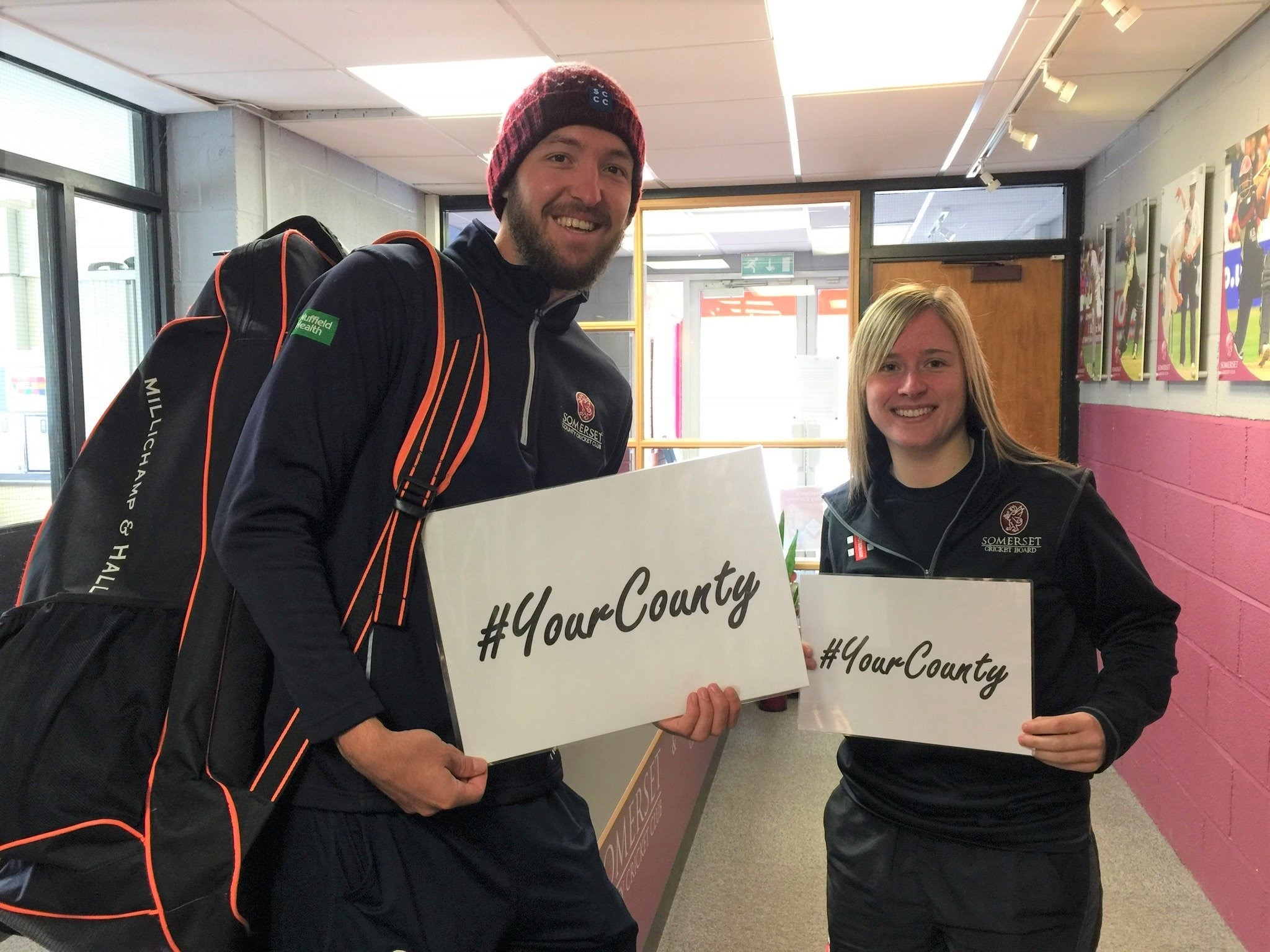 SHOW YOUR SUPPORT: Paul van Meekeren (left) and Sophie Luff back County Women's Cricket Day