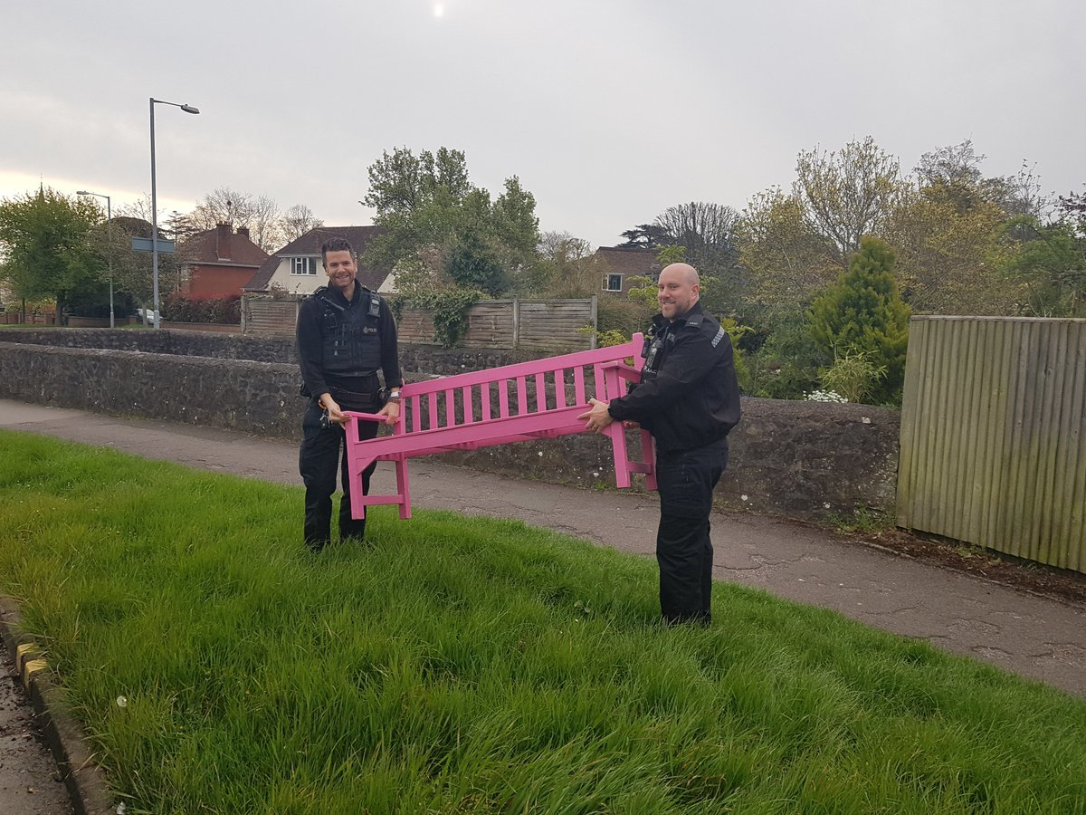 RETURNED: Officers with the stolen bench