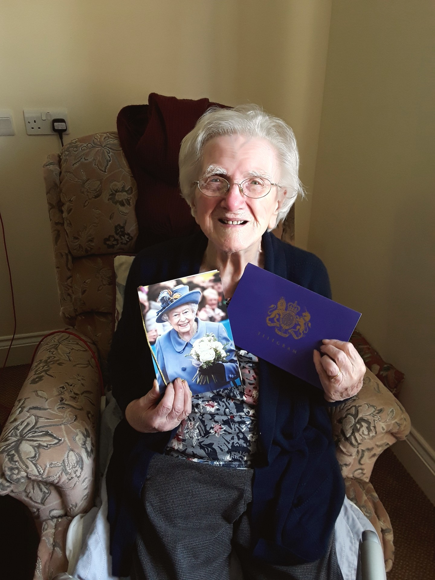BIRTHDAY: Olive with her card from the Queen