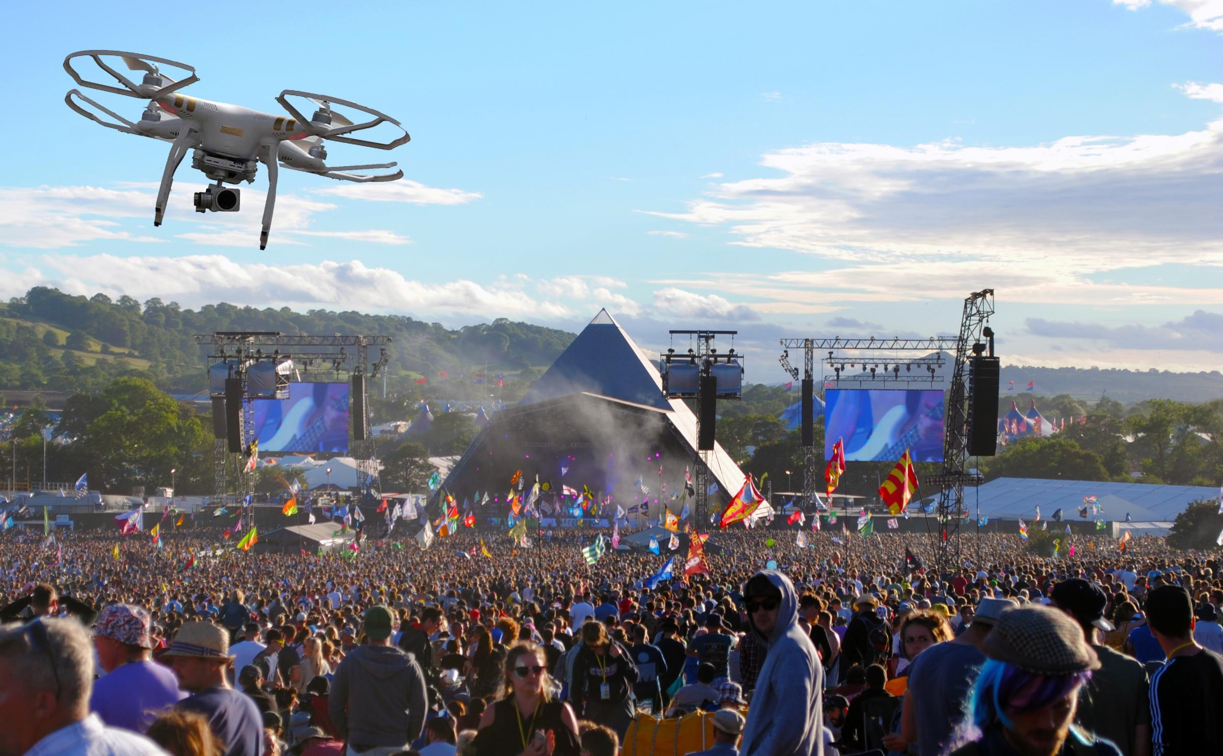 Thinking of flying a drone over the Glastonbury Festival? Don't bother...