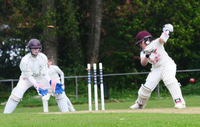 BOWLED HIM: Wellington 3rds batsman Jacob Hurry dismissed against Crewkerne 2nds. Pic: Steve Richardson