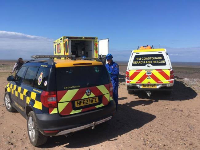 EMERGENCY: Coastguards and ambulance personnel attended the incident