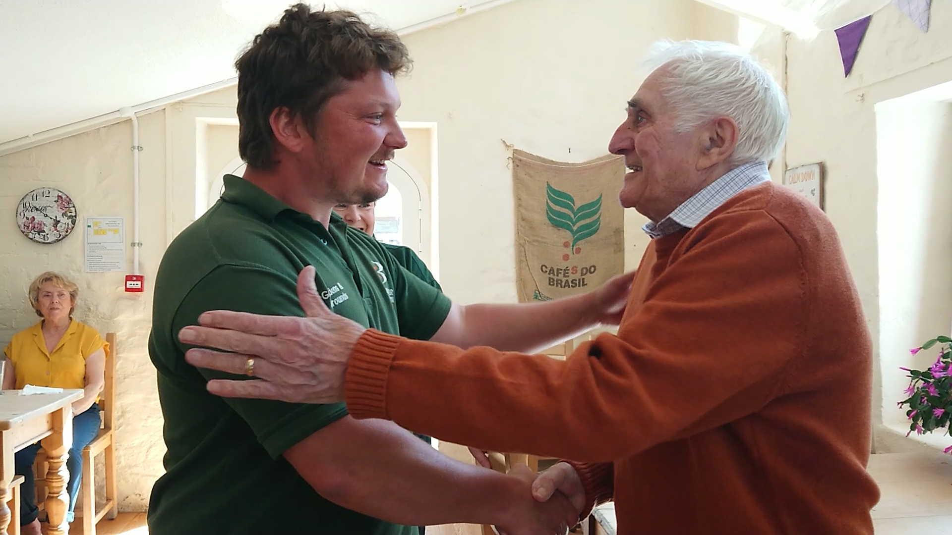 The emotional moment a heart attack victim Brian Cable is reunited with hero Aymeric Huguerre who saved his life