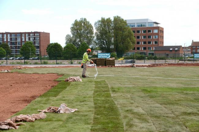 CHANGE: Turf has been laid at the Firepool site in Taunton