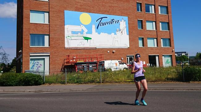 DISPLAY: The mural is being painted on the Viridor building in Taunton