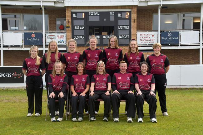 SOMERSET WOMEN (from left): back row - Tilly Bond, India Owen, Daisy Jeanes, Lauren Filer, Jodie Filer, Cassie Coombes, Hannah Capes; front - Emma Godman, Nicole Richards, Sophie Luff, Lorraine Szczepanski, Georgia Tulip.