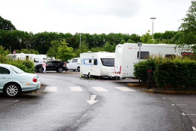 ENVAMPMENT: Travellers on the Gateway Park and Ride site today